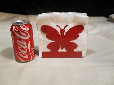 Brand New ~ Red Butterfly Design Metal Napkin Holder