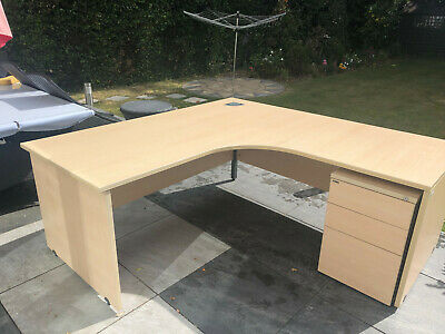 Large and Solid Corner Office Desk with Set of Drawers in excellent condition