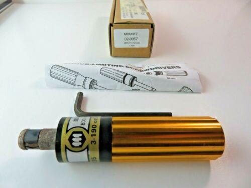 Mountz Torque screwdriver limiting Gold 02-0067 TLS0135 3-190 ozf.in  2-135 cN.m