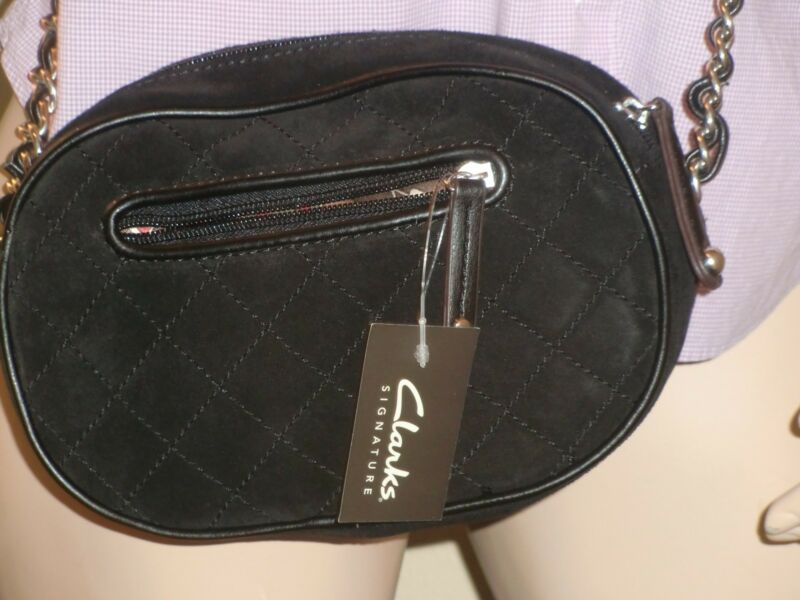 Clarks Signature Black Suede w/Leather & Silvertone Hardware Crossbody Bag S $70
