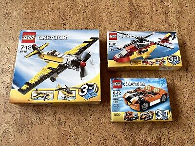 Lego Creator 3-in-1 Lot 3 Sets (6745, 5866, 31017) Plane Helicopter Speeder NEW