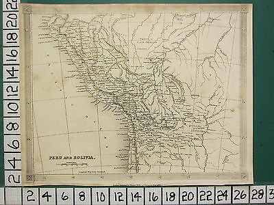1836 DATED GEORGIAN MAP ~ SOUTH AMERICA PERU & BOLIVIA CHUQUIS CUZCO