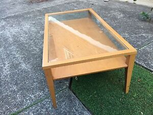 Glass wooden coffee table Homebush Strathfield Area Preview