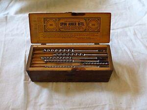 Antique Vtg Old Russell Jennings Spur Auger Bit Set in Original 3 Tier Wood Box