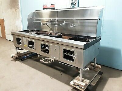 Robert Yick Hd Commercial 100w Nat. Gas 4 Burners Chinese Style Wok Stove