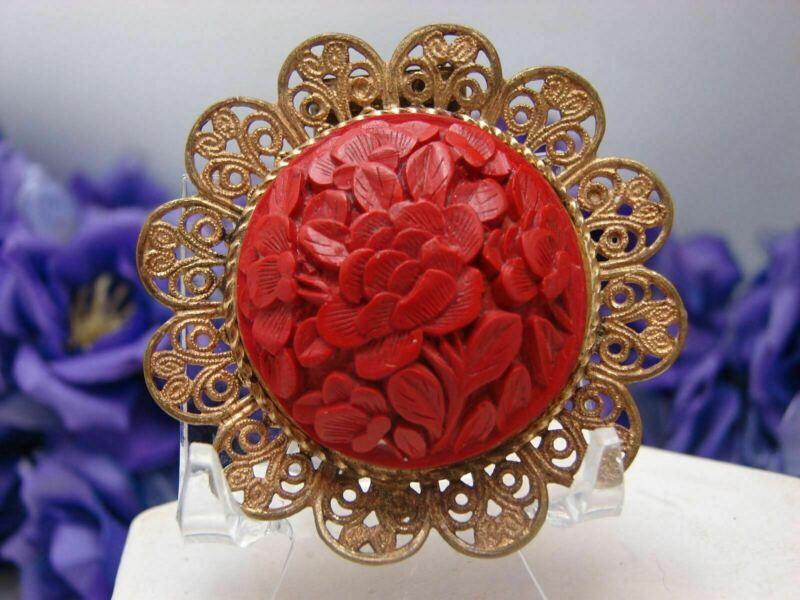 Vintage Carved Cinnabar Floral Pattern Filigree Mounted Fur Dress Clip