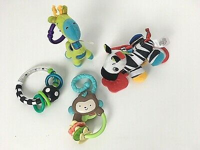 4 Baby Toys Colorful Monkey Banana Key Ring Zebra Giraffe Teethers Grippers Gift