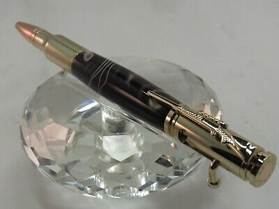 HANDMADE STUNNING BULLET BOLT ACTION BLACK AND COPPER PEARL BALL POINT PEN 24KT