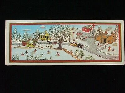 Vintage Christmas Card Old Time Village Landscape Grandpa Roy California Artists