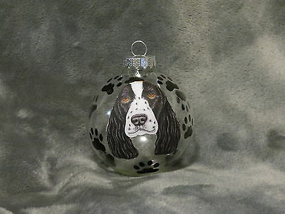 HAND MADE SPRINGER SPANIEL GLASS CHRISTMAS ORNAMENT / BALL