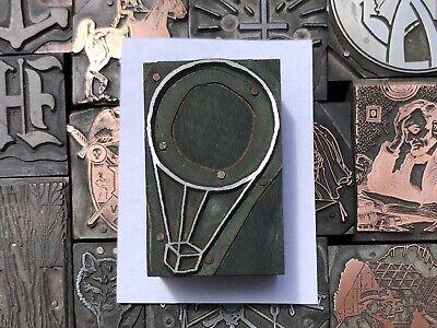 Antique Vtg Wood Metal Hot Air Balloon Letterpress Print Type Cut Ornament Block
