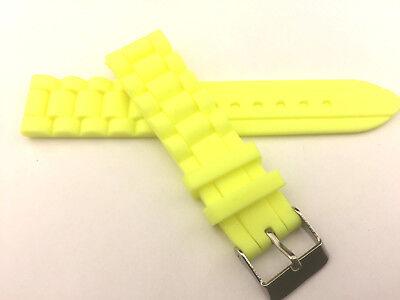 Yellow Rubber - 22mm Silicone Waterproof Rubber PU Watch Band Strap Yellow