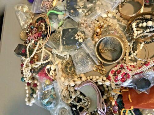 7 POUNDS Mixed Lot Costume Jewelry Many Wearable Craft  Rhinestone