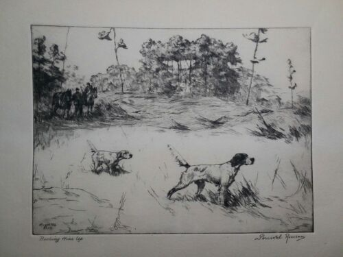 Hunting Litho Backing Him Up Percival Rosseau Talio-Chrome From England 1956 - $20.00