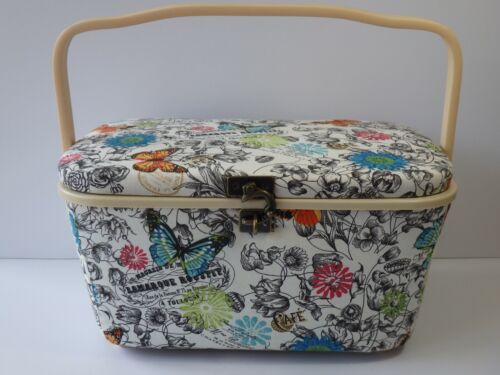 Dritz Padded Fabric Sewing Basket Floral / Butterfly / French Motif Philippines