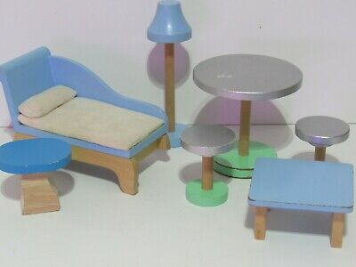 Lot KidKraft Doll Furniture Barbie Green Blue Bed Couch Bistro Table Chairs Wood