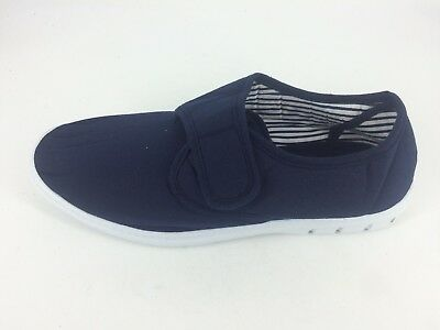 Mens Chums Canvas Shoes Touch Fastening - Navy - Size UK 10 EU 44 JS088 HH 04