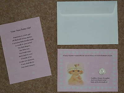 BIRTH NEW BABY GIRL PRESENT/GIFT A LUCKY SIXPENCE & POEM IDEAL KEEPSAKE