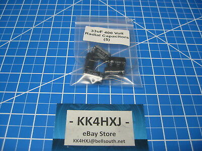 400v 33uf Radial Electrolytic Capacitors - Lot Of 5