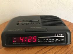Vintage Sony Dream Machine Red LED AM/FM Clock Radio Model ICF-C25 Tested Works