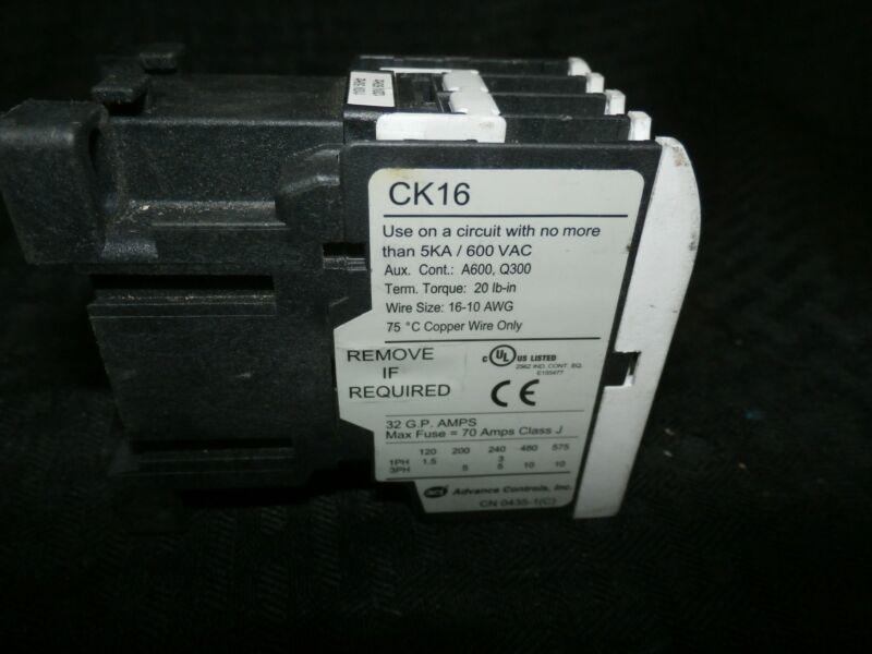 ADVANCE CONTROLS, CK16, CONTACTOR, 5KA/600VAC