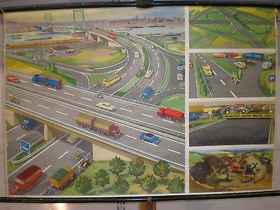 Schulwandbild Wandbild Straßen Autobahn Entstehung Vollendung Auto  T2 117x80cm