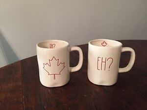 RAE DUNN Red Canada Mug Set