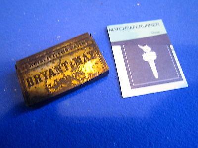 BY ROYAL LETTERS PATENT BRYANT & MAY TIN MATCH HOLDER VESTA CASE MATCH STRIKER