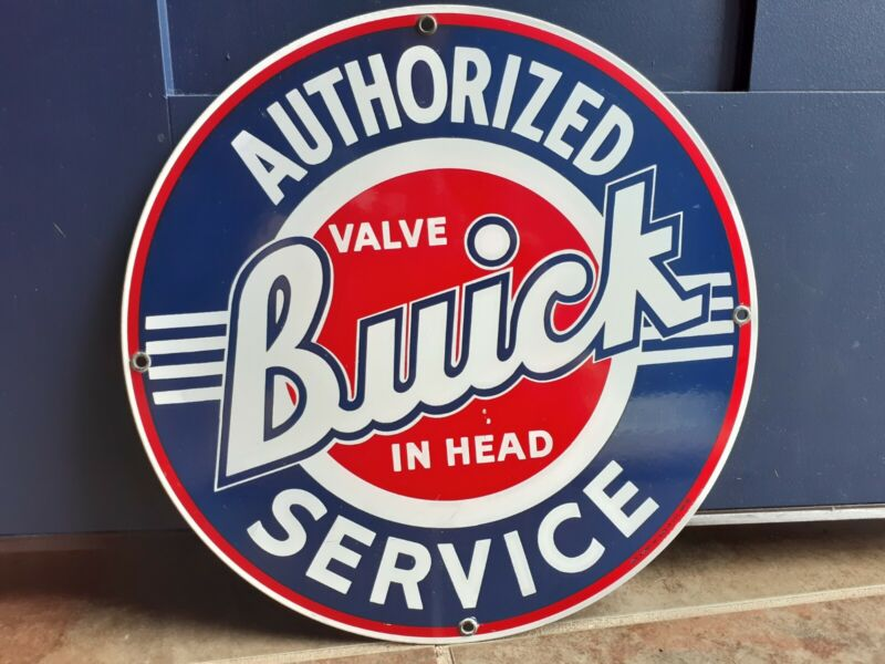1986 Buick Authorized Service Porcelain Enamel Sign Ande Rooney Reproductions