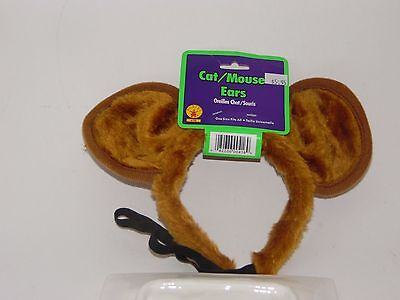 Brown Plush Cat/Mouse Ears Headband Costume Trick or Treat Halloween Party
