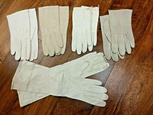 Vintage Womens Leather Kidskin Gloves Lot of 5 Pairs