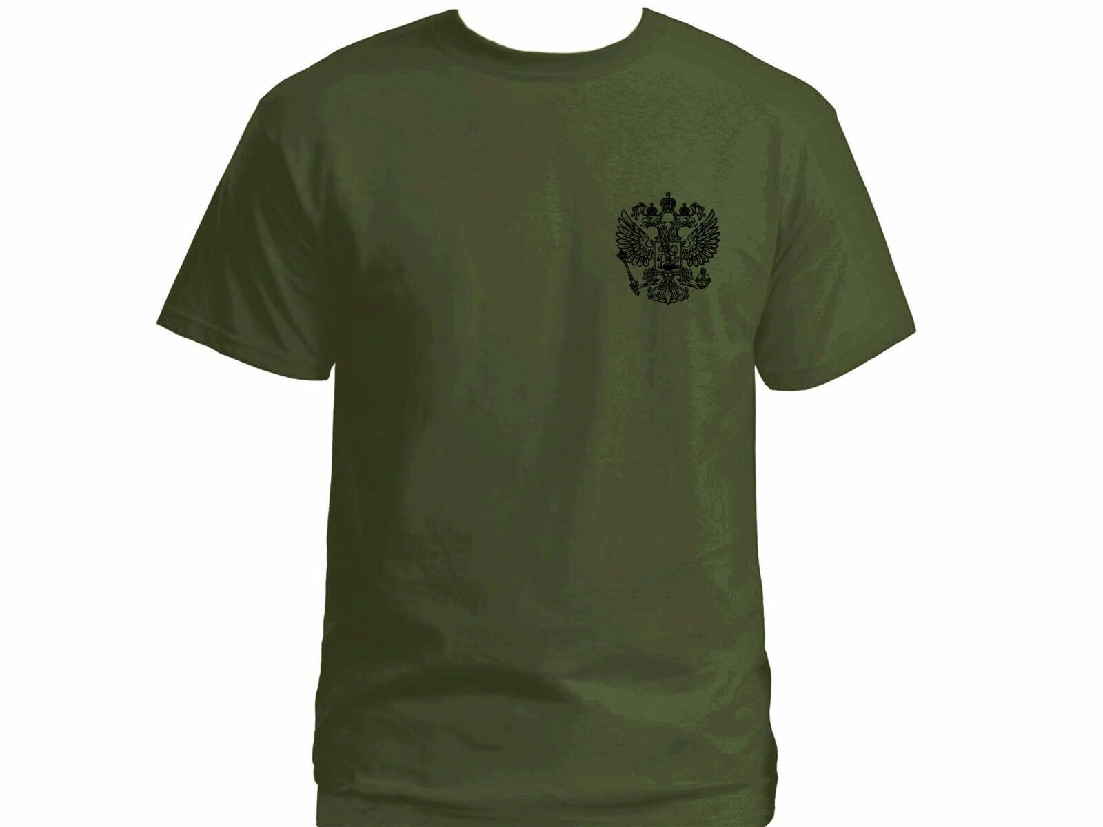 Russian coat of arms two headed Roman eagle army green 100% cotton t-shirt