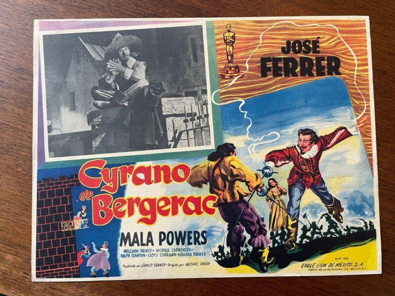 CYRANO DE BERGERAC 1950 Mexican Lobby Card Jose Ferrer & Mala Powers