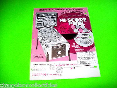 HI SCORE POOL By CHICAGO COIN 1971 ORIGINAL PINBALL MACHINE PROMO SALES FLYER