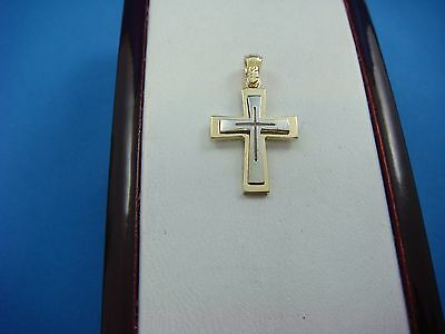 14K TWO TONE SOLID GOLD BOY`S-GIRL`S CROSS PENDANT 2.1 GRAMS, 0.8 INCH LONG