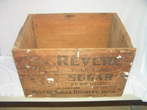 Vintage Revere Sugar Refinery Wood Wooden Crate with Advertising