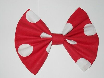 MINNIE MOUSE  HAIR BOW,  DISNEY INSPIRED  RED & WHITE POLKA DOTS  W/SILVER - Minnie Mouse Hair Clips