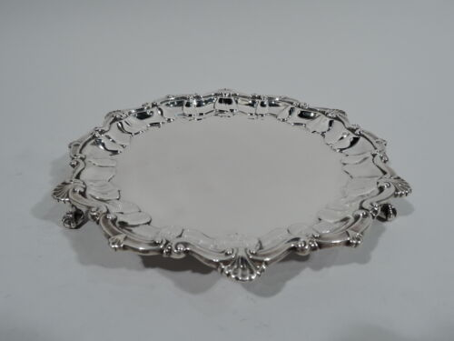 Edwardian Salver - Antique Georgian Tray - English Sterling Silver - Jessop 1903