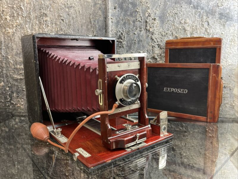 Vintage Conley Folding Red Bellows Camera w/ Conley Lens & Holders