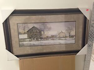 """WOOD FRAMED DOUBLE MATTED """"BARNYARD"""" PICTURE BY RAY HENDERSHOT"""