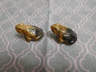 Pair Lot Vintage Miniature Frogs Figurines Glazed Pottery