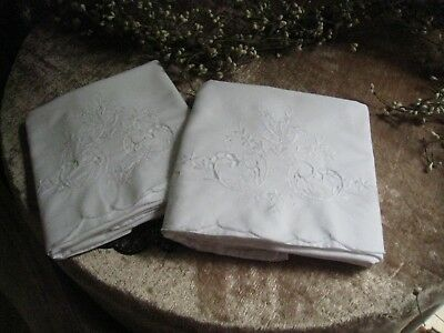 Embroidered Cottage - COTTAGE ~EMBROIDERED, SCALLOPED  WHITE (PAIR) PILLOWCASES