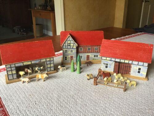 Erzgebirge German Barnyard buildings/animals/trees All Wood Hand Paint