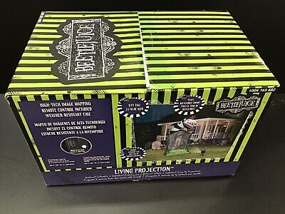 New Gemmy 9 Ft. Air Blown Inflatable Living Projection Beetlejuice Tombstone NIB