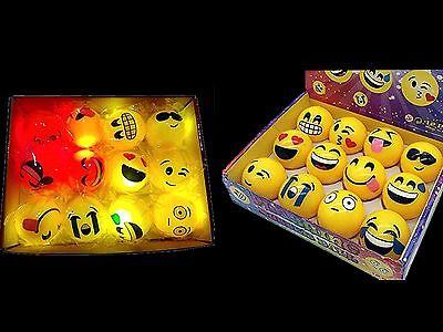Light Up Beach Balls (FREE BAG + 12 Light Up LED Flashing Emoji Bouncy Balls - party gift, beach)