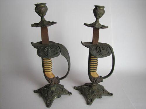 WWI German Navy-Naval Kriegsmarine Sword Candlestick Holders