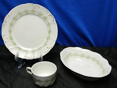 Meakin England Green Leaf 3pc Set -- Plate / Bowl / Cup - Vintage Collectors Lot