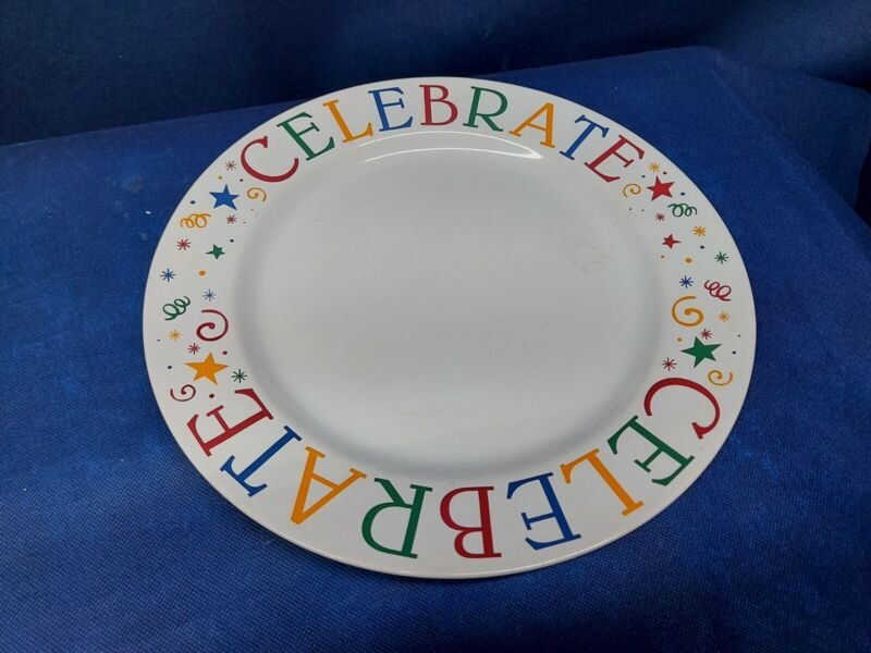 """Pampered Chef """"CELEBRATE"""" Round Serving Plate - Retired  EUC"""