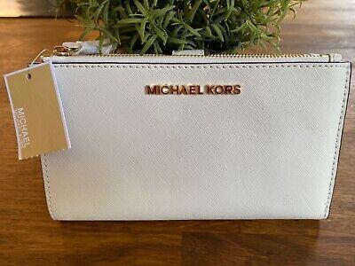 Michael Kors Leather Smartphone Wristlet Purse Optic White Double Zip Wallet
