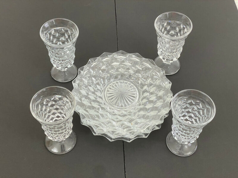 """Jeanette Glass Cubist Clear 4 Juice Glasses 5"""" 4 Lunch Plates 7""""  Excellent /r"""